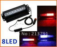 New 8-LED Emergency Vehicle Warning Strobe Flash Light Red Blue Amber White mixed colors