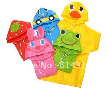 Promotion wholesale LINDA Japan cartoon animal shaped kid's poncho children raincoat waterproof rain cape