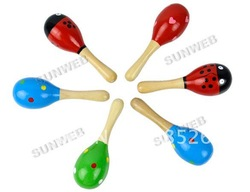 2pcs/set Fashion Wooden Maraca Rattles Kid Music Party Favor Child Baby Shaker Toy free shipping 6442(China (Mainland))