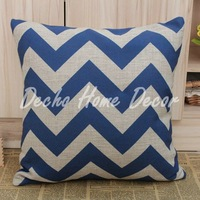 Wholesale Free Shipping 45cm*45cm Blue Chevron Zig Zag Linen Cushion Cover
