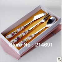 Cutlery sets\Ceramic Handle\Stainless Steel \Tableware cutlery set  Knife, fork and spoon set 3pcs