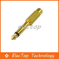 """Free shipping 6.35mm 1/4"""" Male Mono To RCA Female Golden Audio Adapter 100pcs/lot Wholesale"""