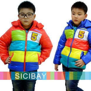 Boys Fashion Overcoats Colorful Rainbow Hooded Jackets,Free Shipping  K0247