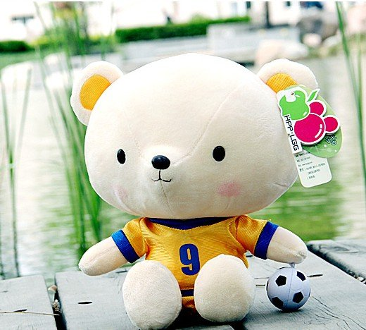 Hpp&amp;Lgg Brand Toys for children sports paragraph plush teddy bear doll lovers gift toys soft 35cm Football Bear(China (Mainland))