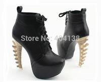 Drop shipping 2 color Fashion Women's Lace-Up Boots Fish bone style high heels brand Platform Pumps black shoes size 34-39