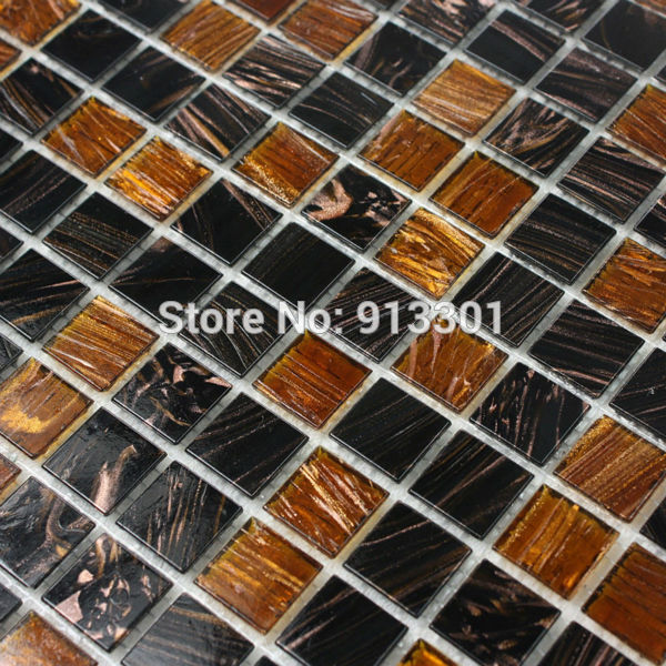 crystal glass tiles mirror brown vitreous glass mosaic