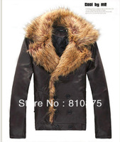 NRYG 2012 clothing fashion elegant large fur collar water washed leather fashion men double breasted leather clothing slim coat