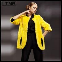 LTMB new fashion and hot sell Rex rabbit hair fur half quarter sleeve medium-long design women's coat 2014
