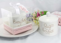 Free Shipping Wedding Gift/ Party Favors Lovely Sugar & Spice Everything Nice Ceramic Sugar Bowl with Gift Box