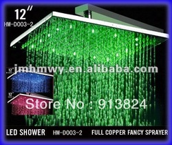 bathroom brass shower 12&quot; square led rain showers(China (Mainland))