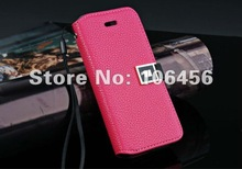 Free Shipping 50pcs X Wholesale Luxury Wallet Leather Case for iPhone 5 with card slot(China (Mainland))