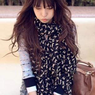 3413 silk chiffon small cat scarf autumn and winter female long design female scarf silk scarf