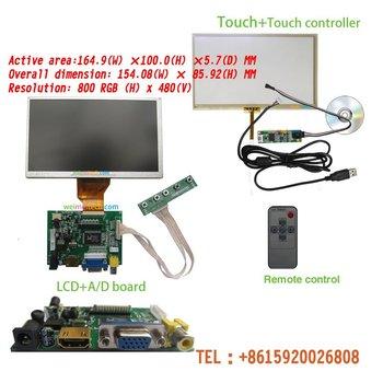 """7"""" TFT LCD Module + Touch Panel +HDMI& VGA&2AV A/D Board CAR PC Display Screen"""