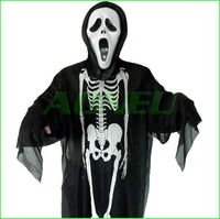 2012 new demon clothes party ball halloween costume for adult / kids skull skeleton ghost monster clothing with face mask