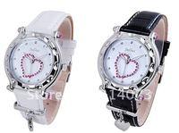 Top Quality Quartz Wrist Watch with Love heart Twinkle Rhinestone