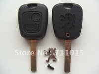 Hot-selling Peugeot 2 button remote key blank with 307 key blade key shell blade without groove