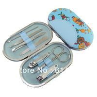 5 sets Nail art nail clipper set leather carbon steel piece set blue 601
