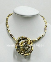 "Copper/gold/silver mixed tri-color bendable snake necklace n bracelet, diametaer 5mm, length 90cm(35""), free shipping"