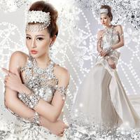 Top quality Luxury diamond royal princess fish tail train bride wedding dress formal party dress  8505
