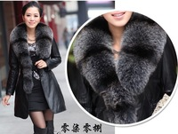 2012 luxury fashion Womens natural fox fur collar 100% Sheepskin Fur Coat large sizes m--4xl