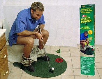 free shipping Potty Putter Toilet Golf Game Mat for Avid Golfer new novelty toys