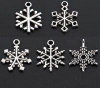 50 Pcs Assorted Tibetan Silver Christmas Snowflake Charms 19.5mm-23.5mm (1265)