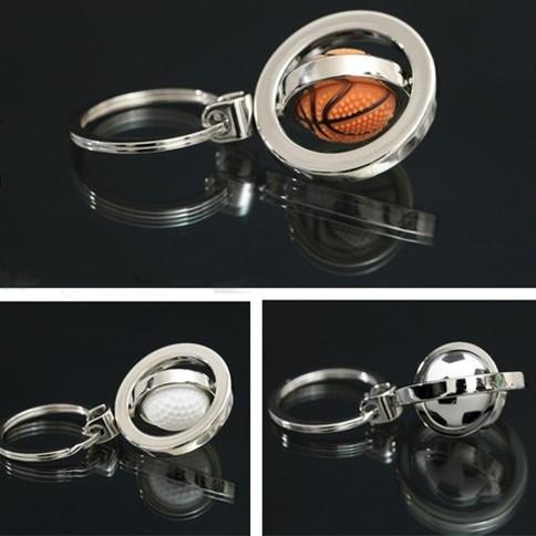 Basketball football golf ball keychain male mini rotation spherule key pendant(China (Mainland))