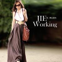 2014 fashion ladies' exception suspenders half-length skirt  linen full length maxi long skirt irregular braces women long skirt