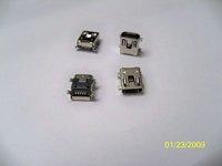"""5P SMT Mini USB Socket, Mini USB Jack, 5P AB type 50pcs/tube 1U"""" gold pated, Rohs 100pcs/lot high quality, Free ship!"""