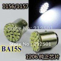 Wholesale Free Shipping 80pcs/lot 12V S25 BA15S 1156 22 LED 1206SMD direction indicator lamp/backup light white