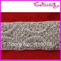 New Arrive Bridal Motif Silver Crystal Clear Rhinestone Applique Embellish DIY, Wedding, Bridal Accessories, Belts