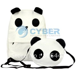 Panda Design School Canvas Backpack Set , Shoulder Bag ,Mother+Baby Handbag Set Free Shipping(China (Mainland))
