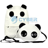 Panda Design School Canvas Backpack Set , Shoulder Bag ,Mother+Baby Handbag Set Free Shipping