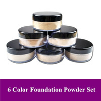 Free Shipping! 6 color/box per pack Pro Mineral silky Cosmetic face Loose Powder Foundation powder 15g/box, Dropshipping!