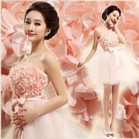 2013 Fashion Bridal Tube Top Short Design Pink Princess Bridesmaid Dress 916