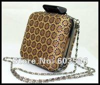 1pcs Fashion Animal Leopard Coffee Full CZ Diamond Evening bag/shoulder/clutch/purse