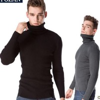 High Quality Men's Turtleneck Thickening Stretch Slim Knitted Cashmere Sweaters Black/Gray Plus Size