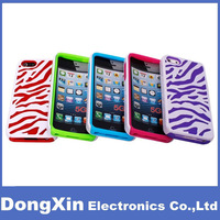 10PCSX Style Zebra PC+Silicon Soft Case Cover For iPhone 5 5G