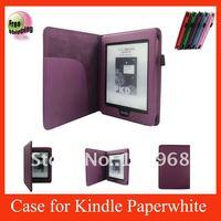 Auto Wake Sleep Function,leather case for 2013 New  kindle paperwhite,Dark purple
