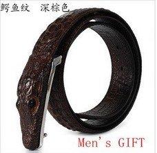 Drop shipping,Men's GIFT 100% genuine Leather men Belts,antique crocodile buckle top alligator design for men wholesale & retail(China (Mainland))