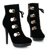 Free Shipping,Lace Up High Heel Pumps #796 Black Faux Suede Ankle Boots,US 4-8.5,Womens/Ladies Shoes