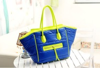 NEW DESIGNER BAGS WITH TWO POCKETS  DARK BLUE WITH BRIGHT GREEN DOWN BAG AWAKARD FACE BAGS FREE SHIPPING