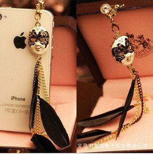 Min.order is $10(Mix order) Free Shipping Cell Phone Accessories Phone Jewelry Feather Facebok Dust Plug
