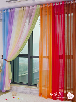 2014 New 270*100cm 5pcs/lot high quality Rustic solid color finished products balcony curtain window screening curtain