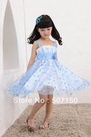 free shipping multi color kids chiffon clothes girls princess prom party dress for children's pageant wear