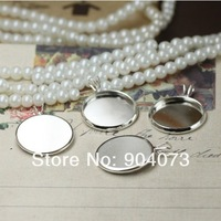 200pcs silver brass Pendant setting,cabochon settings, tray blank at 10mm,12mm,14mm,16mm,18mm,20mm round