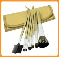 7 Pcs Gold Professional Make Up Makeup Cosmetic Brush Set with Black Leather Case M#6224, Free Shipping