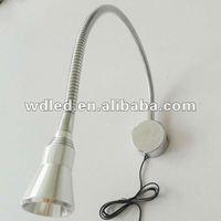 1w/3w 110v/220v Chrome finish flexible LED reading lamp/led reading lamp for bed/led bedside reading lamp