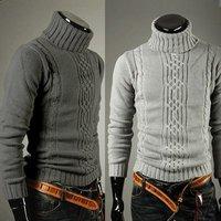 2014 New Korean Style Winter Men's Turtleneck Sweater Warm Knitting High Collar Sweater Grey