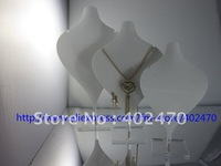 Wholesale Free Shipping Set Of 3 White Acrylic Easel Jewellery Necklace Retail Display Stand Showcase Holder